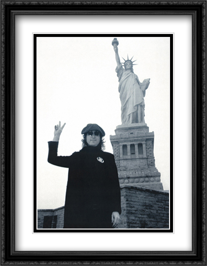 John Lennon Statue of Liberty 2x Matted 24x32 Large Gold or Black or Gold Ornate Framed Art Print by Bob Gruen