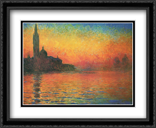 San Giorgio Maggiore by Twilight (Sunset In Venice) 2x Matted 32x26 Large Gold or Black or Gold Ornate Framed Art Print by Claude Monet