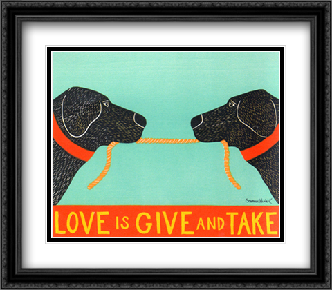 Love is Give & Take 2x Matted 32x26 Large Gold or Black or Gold Ornate Framed Art Print by Huneck
