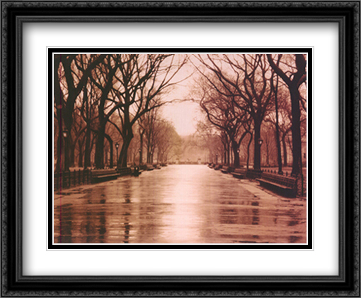 Rainy Day, Central Park 2x Matted 32x26 Large Gold or Black or Gold Ornate Framed Art Print by Sergei Beliakov
