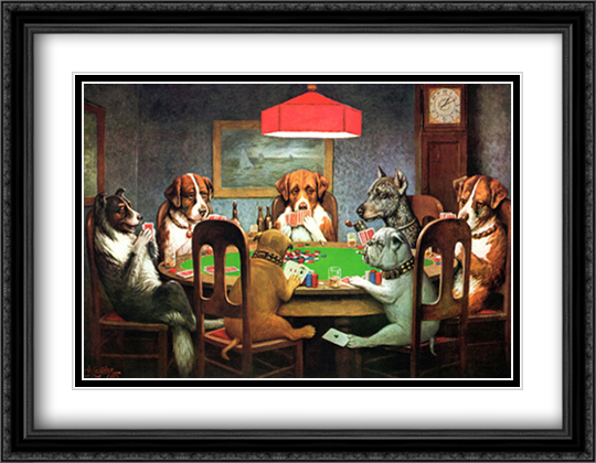 A Friend in Need / Dogs Playing Poker 2x Matted 29x23 Large Gold or Black or Gold Ornate Framed Art Print by Cassius Marcellus Coolidge