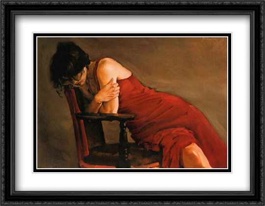 Red Dress 2x Matted 32x24 Large Gold or Black or Gold Ornate Framed Art Print by Michael Austin
