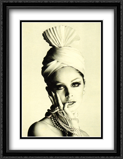 Pleated Turban, April 1965 2x Matted 24x32 Large Gold or Black or Gold Ornate Framed Art Print by David Bailey