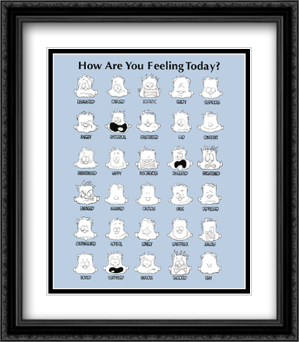How Are You Feeling Today? 2x Matted 22x28 Large Gold or Black or Gold Ornate Framed Art Print by Jim Borgman