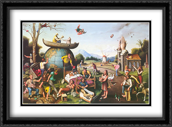 Proverbidioms II 2x Matted 32x26 Large Gold or Black or Gold Ornate Framed Art Print by Thomas E. Breitenbach