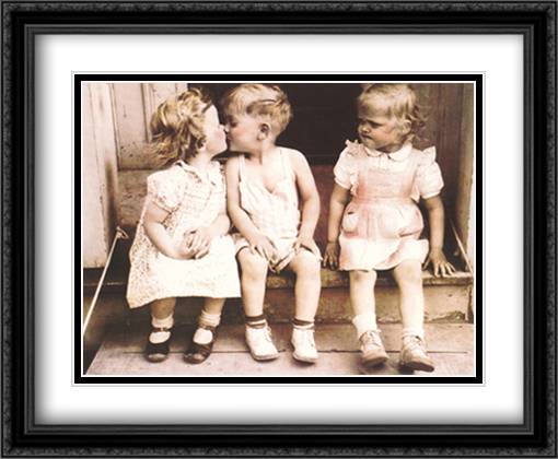 Il Bacio 2x Matted 28x22 Large Gold or Black or Gold Ornate Framed Art Print by Furman Baldwin