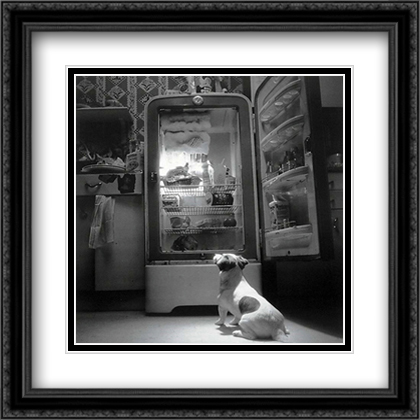 TV Dog 2x Matted 26x32 Large Black Ornate Framed Art Print by Howard Berman