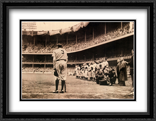 The Babe Bows Out 2x Matted 29x24 Large Gold or Black or Gold Ornate Framed Art Print by Nat Fein