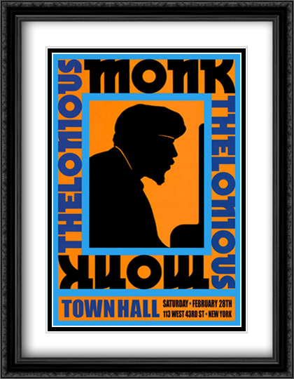 Thelonious Monk, 1959 2x Matted 21x28 Large Gold or Black or Gold Ornate Framed Art Print