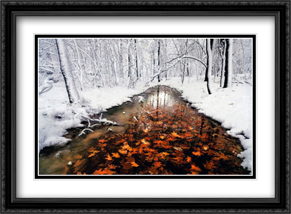 Autumn Pass 2x Matted 28x22 Large Gold or Black or Gold Ornate Framed Art Print by Jim Brandenburg