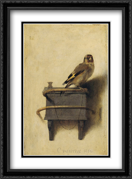Carel Fabritius - The Goldfinch, 1654 2x Matted 24x30 Large Gold or Black or Gold Ornate Framed Art Print by Carel Fabritius