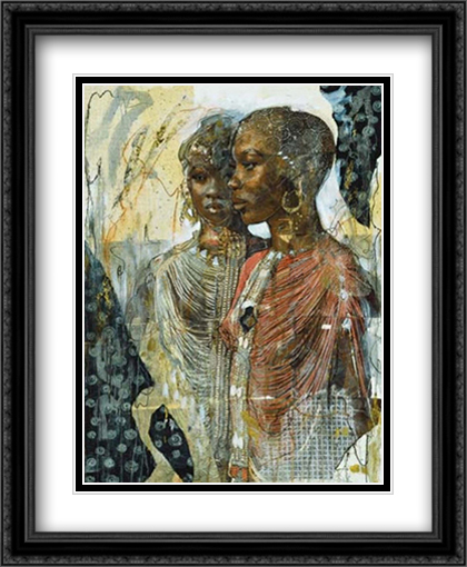 We Are Sisters 2x Matted 26x32 Large Gold or Black or Gold Ornate Framed Art Print by Marta Gottfried Wiley