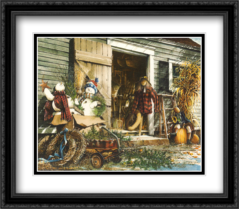 Changing Seasons 2x Matted 28x22 Large Gold or Black or Gold Ornate Framed Art Print by John Rossini