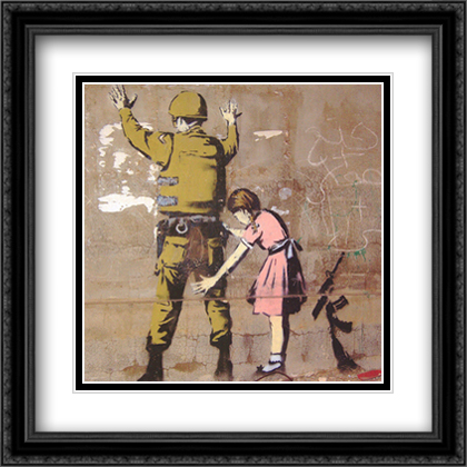 Bethlehem Wall Graffiti 2x Matted 24x24 Large Gold or Black or Gold Ornate Framed Art Print by Banksy