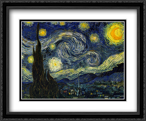Starry Night 2x Matted 32x26 Large Gold or Black or Gold Ornate Framed Art Print by Vincent Van Gogh
