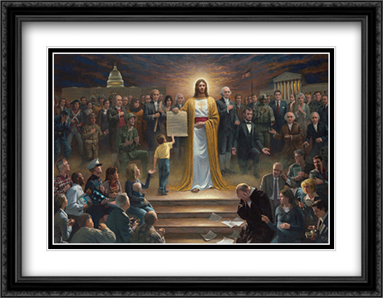 One Nation Under God 2x Matted 30x23 Large Gold or Black or Gold Ornate Framed Art Print by Jon McNaughton