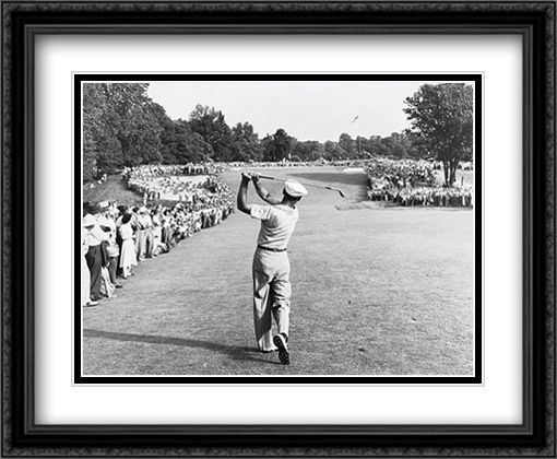 Ben Hogan One Iron Photograph Double Matted 33x26 Large Gold or Black or Gold Ornate Framed Art Print by Peskin