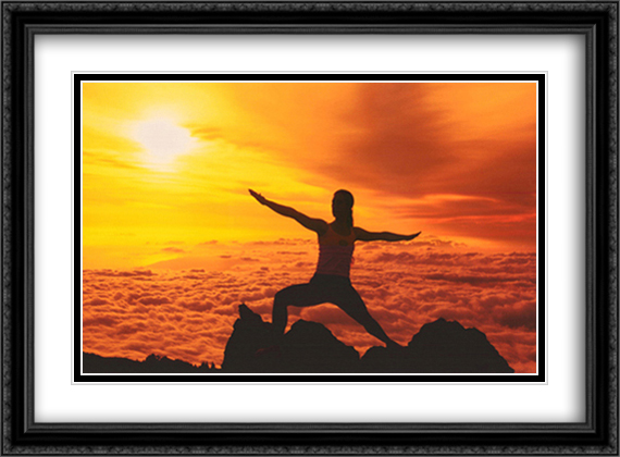 Silhouette of a young woman practicing yoga, Haleakala, Maui, Hawaii, USA 2x Matted 28x22 Large Gold or Black or Gold Ornate Framed Art Print