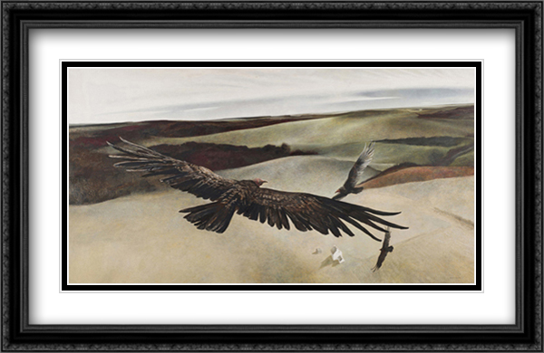 Soaring 2x Matted 33x27 Large Gold or Black or Gold Ornate Framed Art Print by Andrew Wyeth