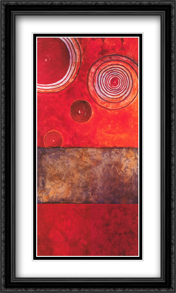 Red Spirals I 2x Matted 28x16 Large Gold or Black or Gold Ornate Framed Art Print by Lanie Loreth