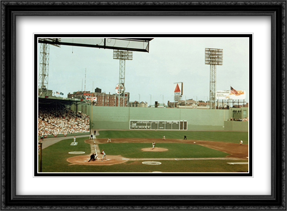 First Pitch At Fenway Park 2x Matted 28x24 Large Gold or Black or Gold Ornate Framed Art Print by Vince Walsh