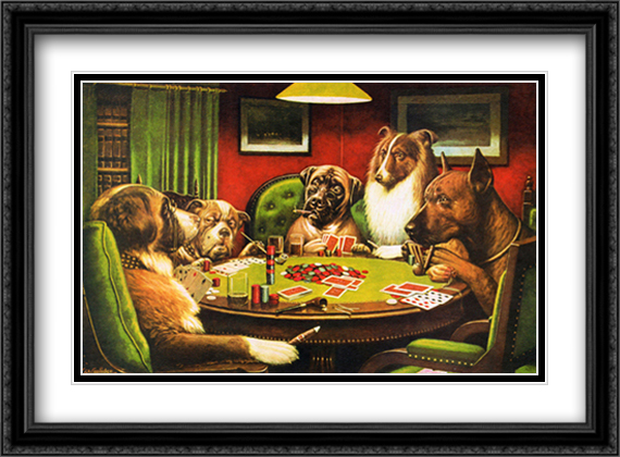 Bold Bluff / Dogs Playing Poker 2x Matted 29x23 Large Gold or Black or Gold Ornate Framed Art Print by Cassius Marcellus Coolidge