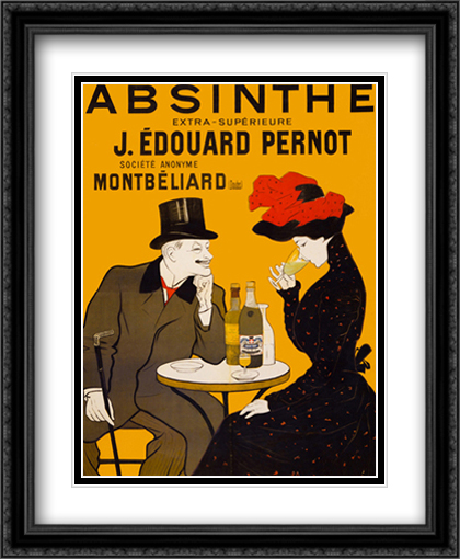 Absinthe 2x Matted 22x29 Large Gold or Black or Gold Ornate Framed Art Print by Leonetto Cappiello