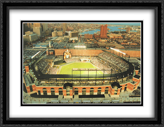Baltimore, Maryland, Camden Yards 2x Matted 32x26 Large Gold or Black or Gold Ornate Framed Art Print by Mike Smith