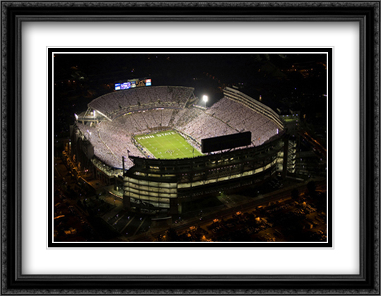 Beaver Stadium, Penn State 2x Matted 32x26 Large Gold or Black or Gold Ornate Framed Art Print by Mike Smith