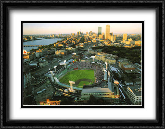 Boston, Massachusetts, Fenway Park 2x Matted 32x26 Large Gold or Black or Gold Ornate Framed Art Print by Mike Smith