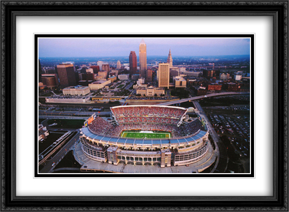 Cleveland, Ohio, Browns Stadium 2x Matted 32x26 Large Gold or Black or Gold Ornate Framed Art Print by Mike Smith