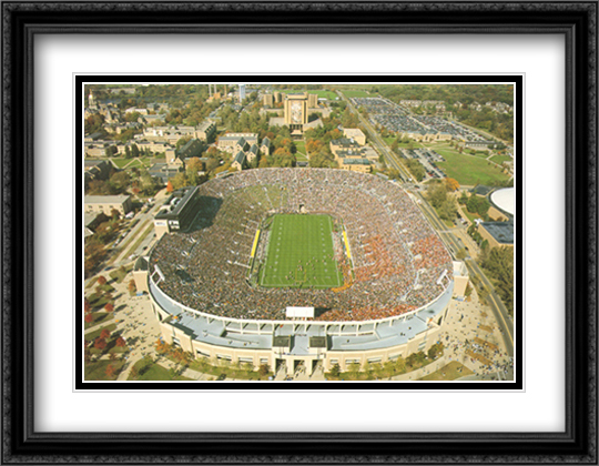 Notre Dame Stadium, South Bend, Indiana 2x Matted 32x26 Large Gold or Black or Gold Ornate Framed Art Print by Mike Smith