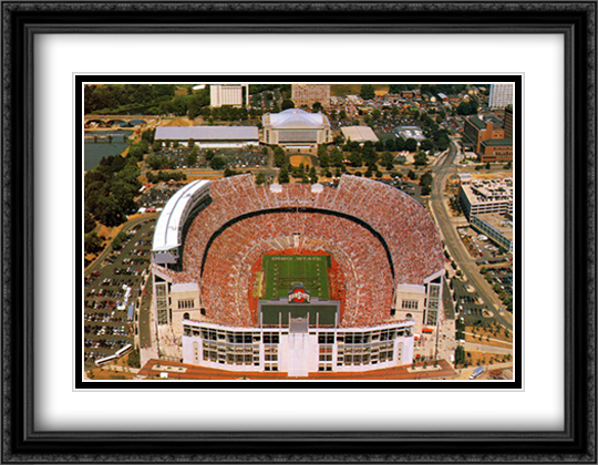 Ohio Stadium, OSU, Columbus 2x Matted 32x26 Large Gold or Black or Gold Ornate Framed Art Print by Mike Smith