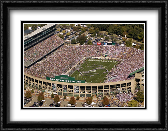 Spartan Stadium, East Lansing, Michigan 2x Matted 32x26 Large Gold or Black or Gold Ornate Framed Art Print by Mike Smith