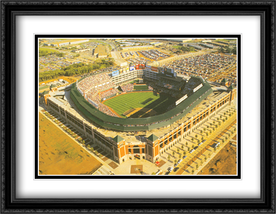 Ballpark, Arlington, Texas 2x Matted 32x26 Large Gold or Black or Gold Ornate Framed Art Print by Mike Smith
