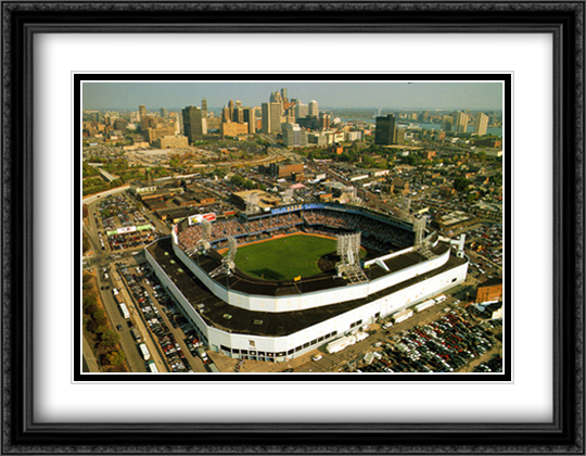 Tiger Stadium, Detroit, Michigan 2x Matted 32x26 Large Gold or Black or Gold Ornate Framed Art Print by Mike Smith