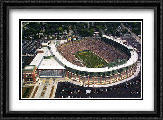 Green Bay, Wisconsin, New Lambeau Field 2x Matted 32x26 Large Gold or Black or Gold Ornate Framed Art Print by Mike Smith