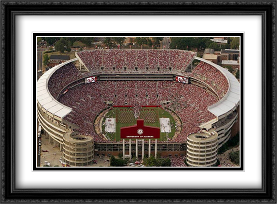 University Of Alabama, Bryant-Denny Stadium 2x Matted 32x26 Large Gold or Black or Gold Ornate Framed Art Print by Mike Smith