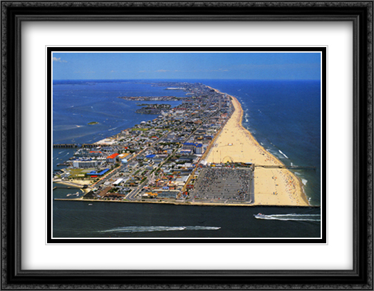 Ocean City, Maryland 2x Matted 32x26 Large Gold or Black or Gold Ornate Framed Art Print by Mike Smith