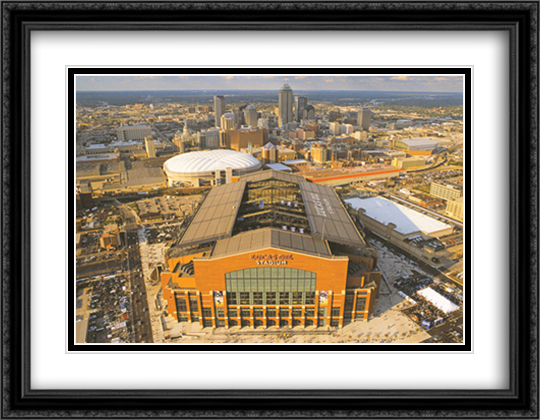 Indianapolis Colts, Lucas Oil Stadium 2x Matted 32x26 Large Gold or Black or Gold Ornate Framed Art Print by Mike Smith