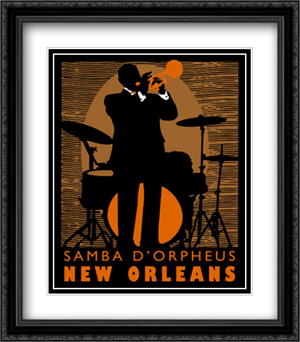 Samba D'Orpheus 2x Matted 26x32 Large Gold or Black or Gold Ornate Framed Art Print by Johanna Kriesel