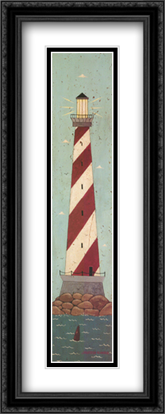 Nautical I 2x Matted 11x32 Large Gold or Black or Gold Ornate Framed Art Print by Warren Kimble
