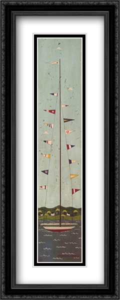 Nautical II 2x Matted 11x32 Large Gold or Black or Gold Ornate Framed Art Print by Warren Kimble