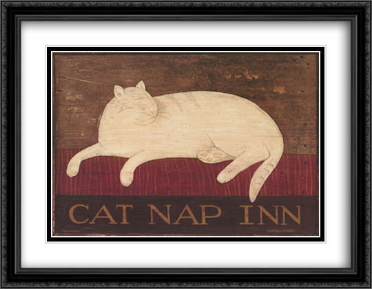 Cat Nap Inn 2x Matted 28x22 Large Gold or Black or Gold Ornate Framed Art Print by Warren Kimble