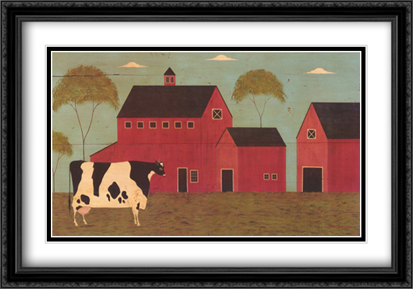 Nellie's Barn 2x Matted 32x22 Large Gold or Black or Gold Ornate Framed Art Print by Warren Kimble