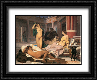Greek Interior [sketch] 24x20 Black or Gold Ornate Framed and Double Matted Art Print by Jean Leon Gerome