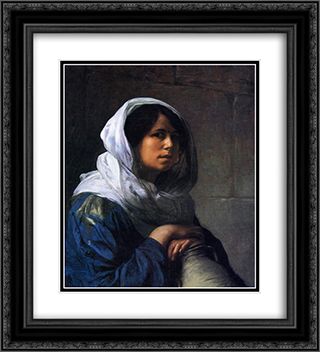 Egyptian Water Carrier 20x22 Black or Gold Ornate Framed and Double Matted Art Print by Jean Leon Gerome