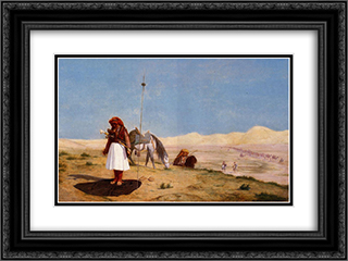 Prayer in the Desert 24x18 Black or Gold Ornate Framed and Double Matted Art Print by Jean Leon Gerome