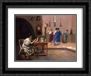 Painting Breathes Life into Sculpture 24x20 Black or Gold Ornate Framed and Double Matted Art Print by Jean Leon Gerome