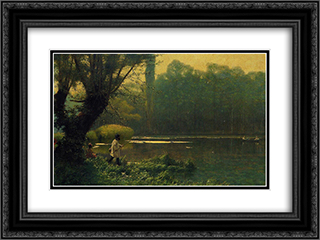 Summer Afternoon on a Lake 24x18 Black or Gold Ornate Framed and Double Matted Art Print by Jean Leon Gerome